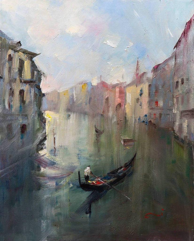 Venice Canal II (framed), Oil Painting by Li Zhou Artist