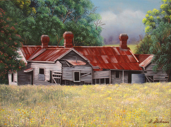 Abandoned old farm house 2, Acrylic Painting by Debra Dickson Artist