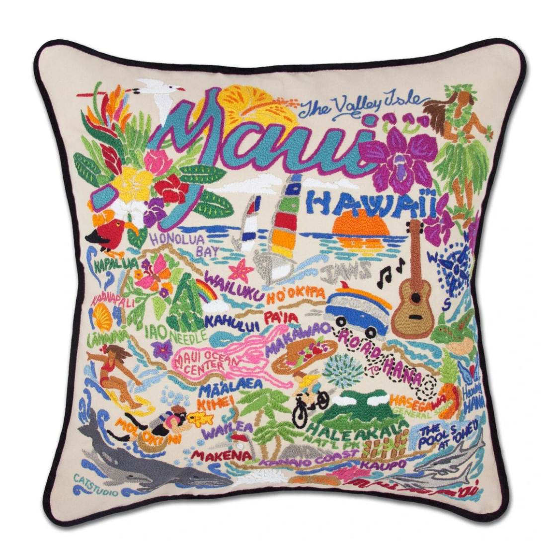 """Maui"" Hand-Embroidered Pillow"