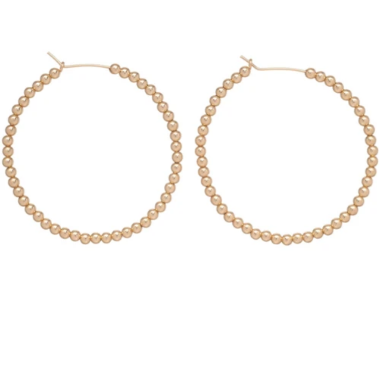"Gold 1.75"" Hoop 3mm Bead"