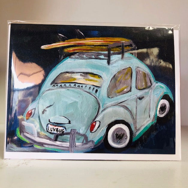 LuvBug Green VW Greeting Card
