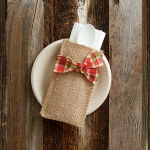 Silverware Pouch, Holiday Plaid Bow