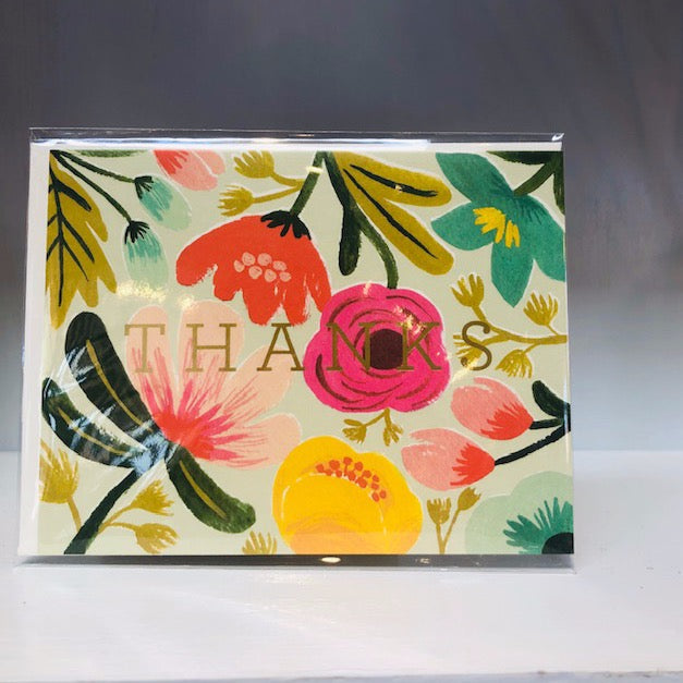 Gold Floral Thank You Greeting Card