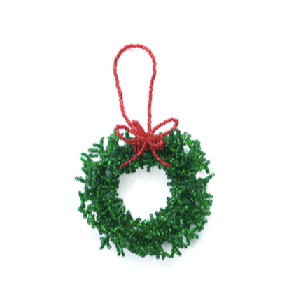 Beaded Wreath Ornament, Green
