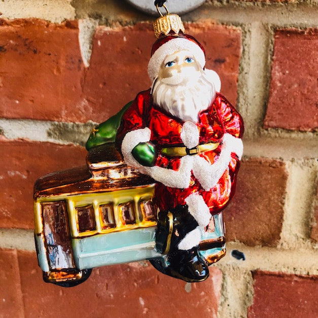 Santa Claus with San Francisco Trolly Christmas Ornament