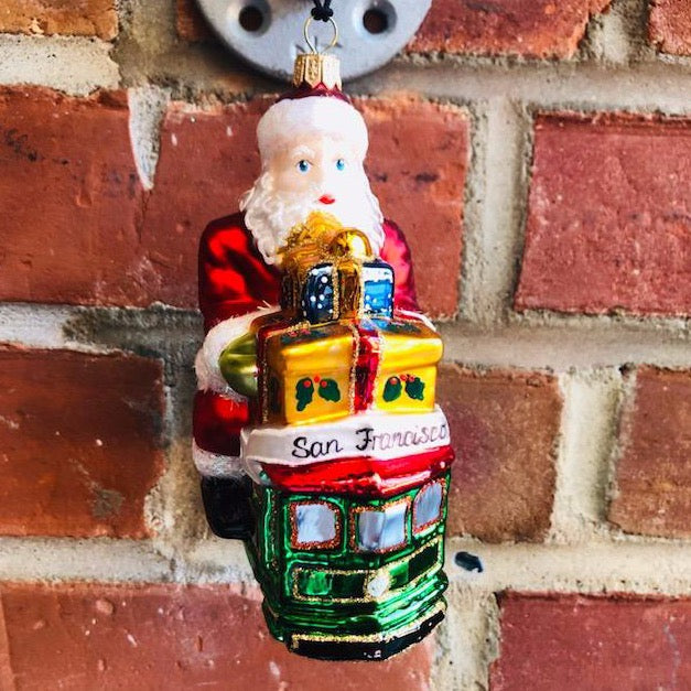 Santa on Cable Car Christmas Ornament