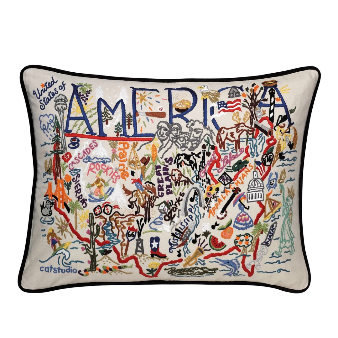 """America"" Hand-Embroidered Pillow"