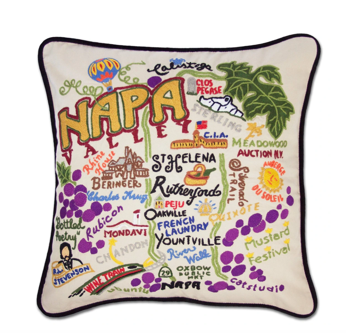 """Napa"" Hand-Embroidered Pillow"