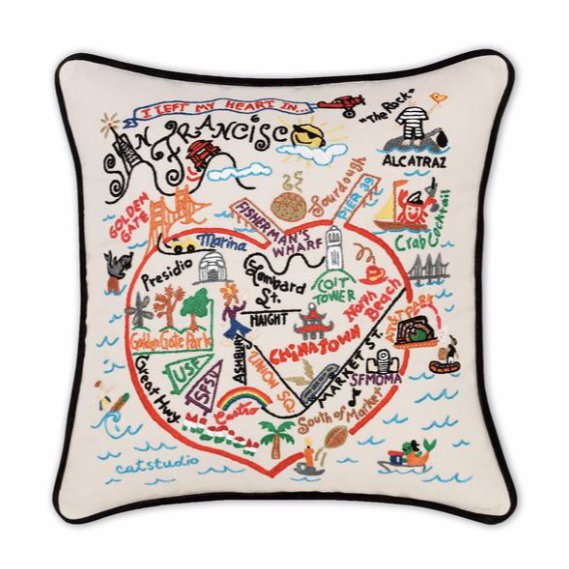 """San Francisco"" Hand-Embroidered Pillow"