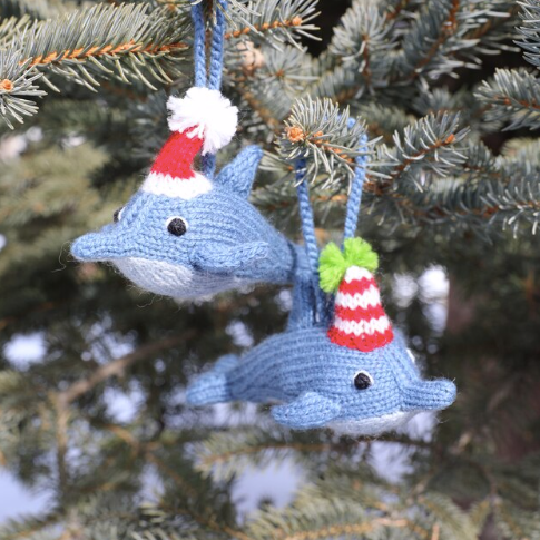 Dolphin in Hat Ornament, multiple options available