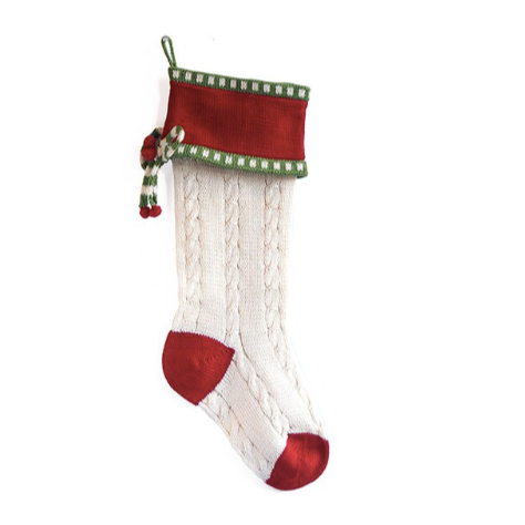 Cable-Knit Bow Stocking