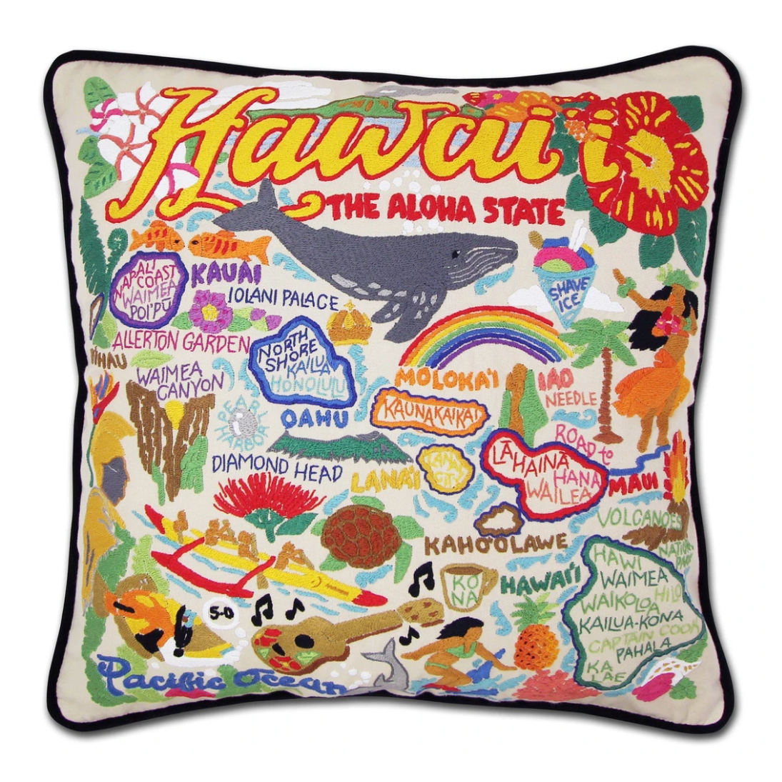 """Hawaiian Isles"" Hand-Embroidered Pillow"