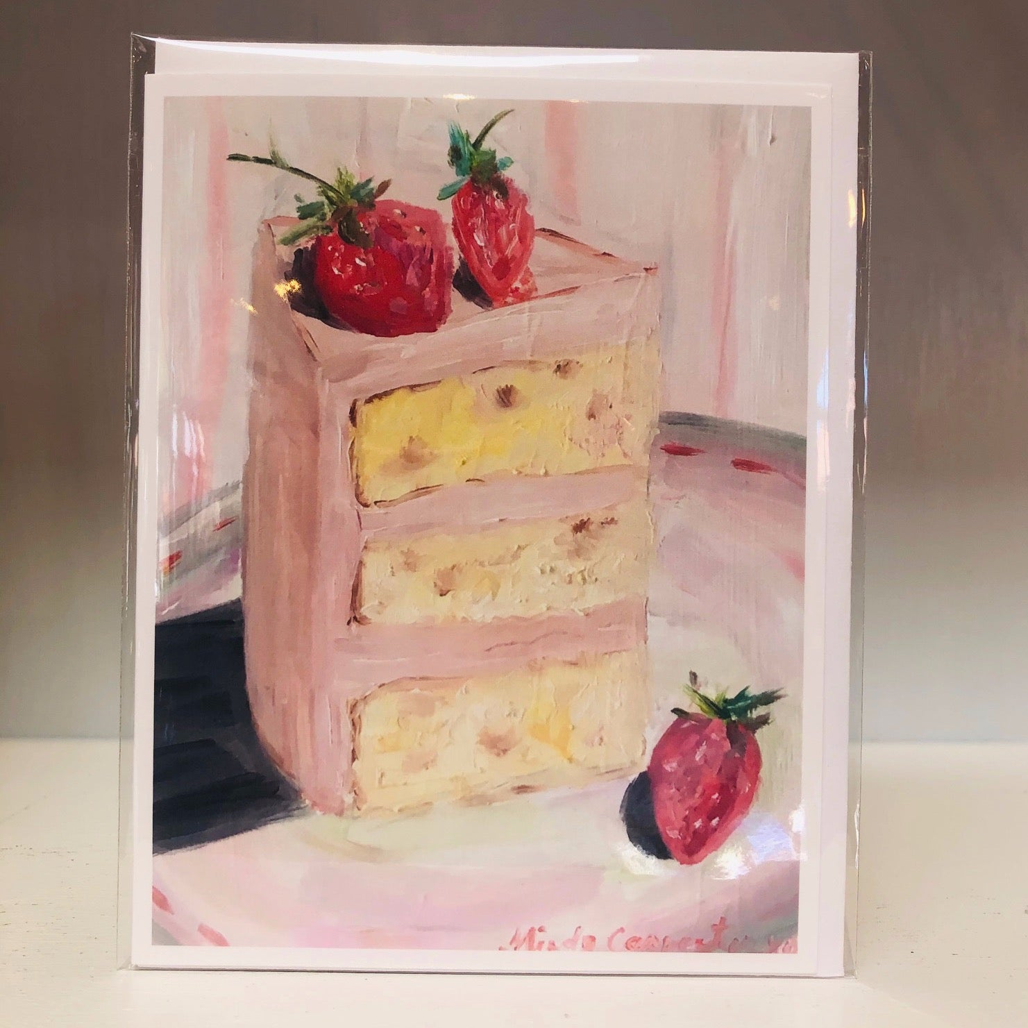 Pink Cake Slice Greeting Card