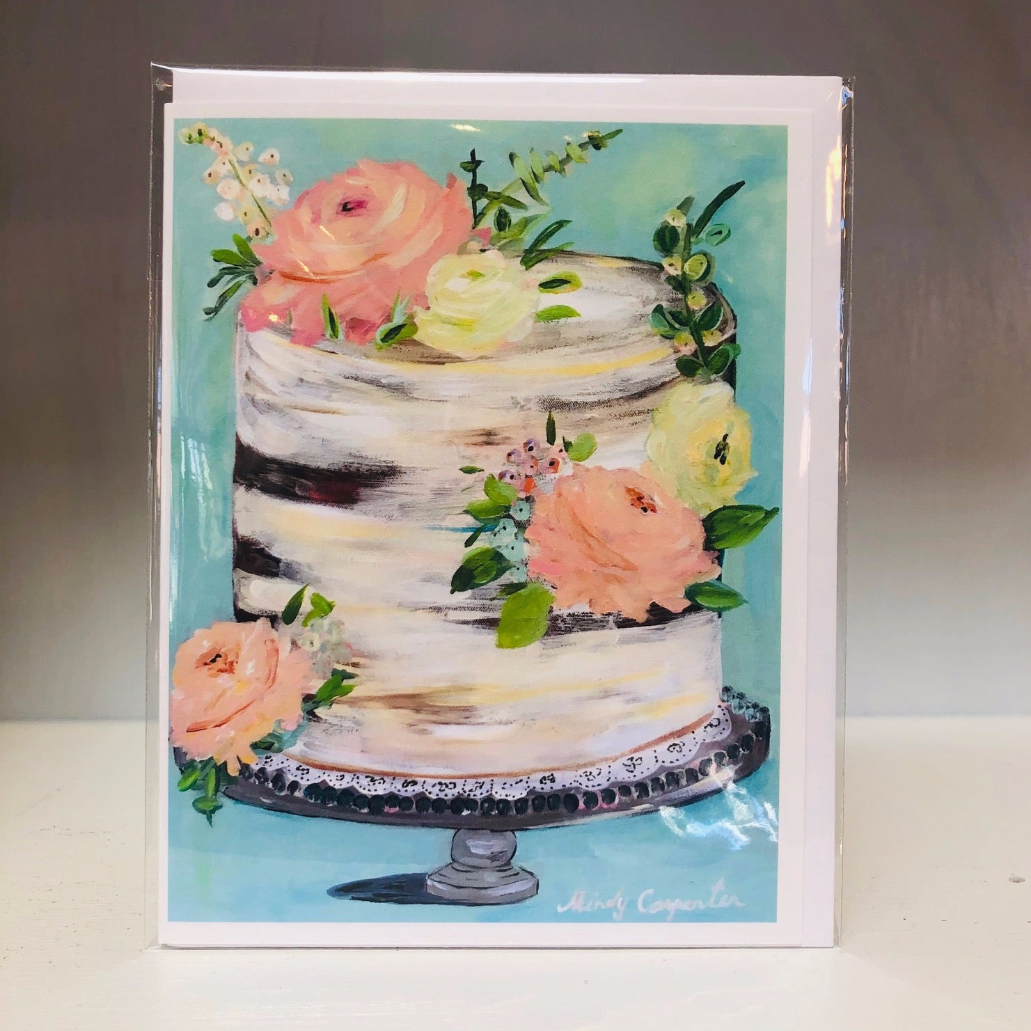 Fancy Floral Cake Greeting Card