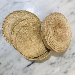 Straw Coasters in Basket, multiple options available