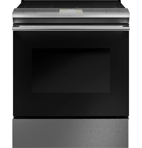 "Café™ 30"" Smart Slide-In, Front-Control, Induction and Convection Range in Platinum Glass"