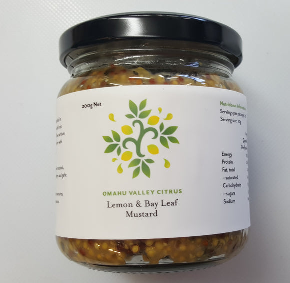 Lemon & Bay Leaf Mustard 200g - Omahu Valley Citrus