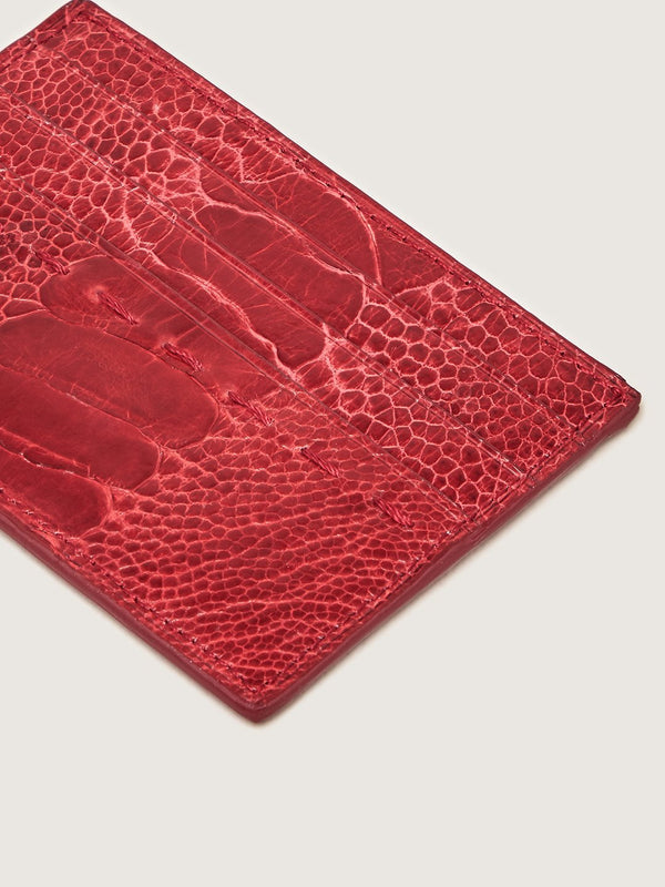 Card Holder - Ostrich Shin Flame Red