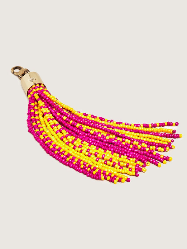 Beaded Tassel Charm - Yellow Fuschia Dark Yellow