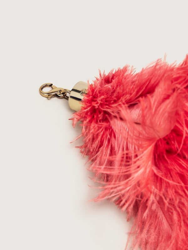 Ostrich Feather Charm - Coral
