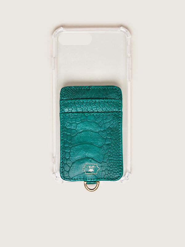 Phone Wallet - Brilliant Green Ostrich Shin