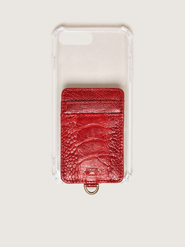 Phone Wallet - Flame Red Ostrich Shin