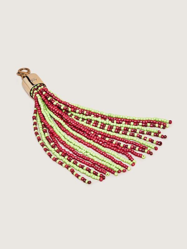 Beaded Tassel Charm - Lime Red