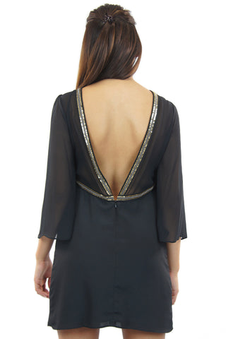 BCBGeneration | black cocktail dress with sequin detail - klōthe - 2
