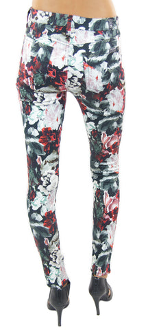 7 for all mankind | mid rise skinny contour waistband (gallery floral) - klōthe - 2