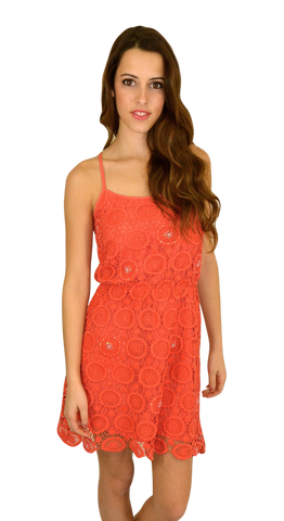 aryn k | crochet dress (coral) - klōthe - 1