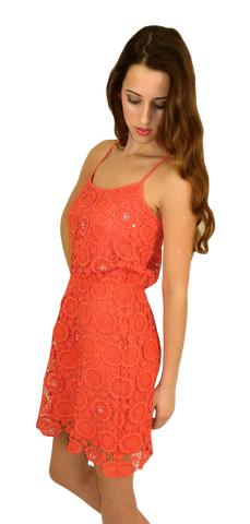 aryn k | crochet dress (coral) - klōthe - 2