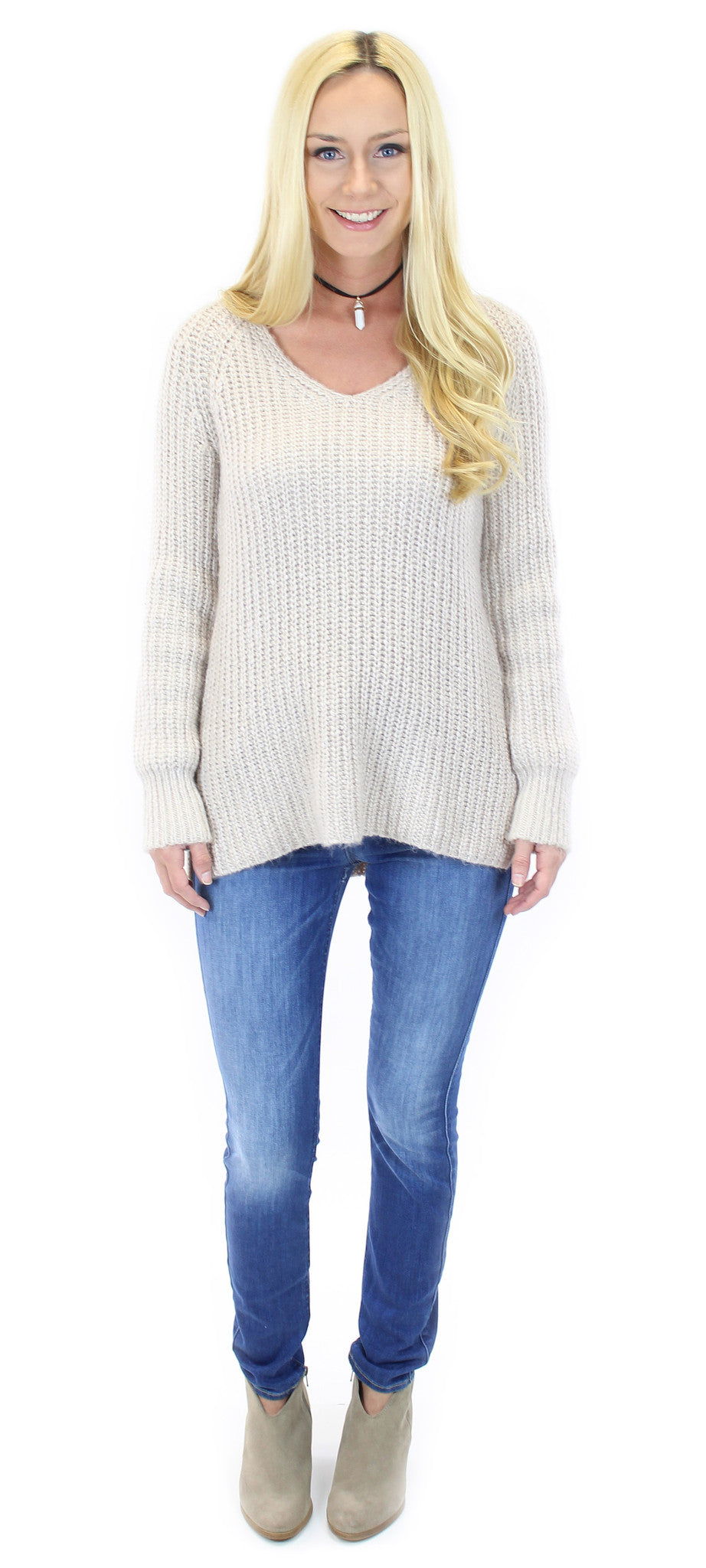 sanctuary | sequoia v neck sweater in marled champagne - klōthe - 1