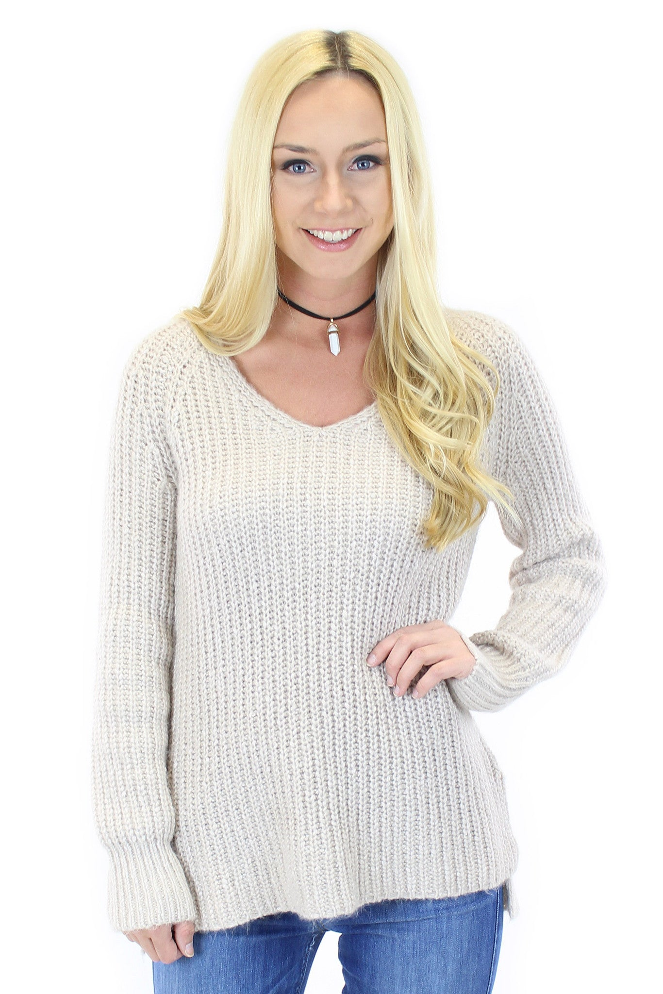 sanctuary | sequoia v neck sweater in marled champagne - klōthe - 2