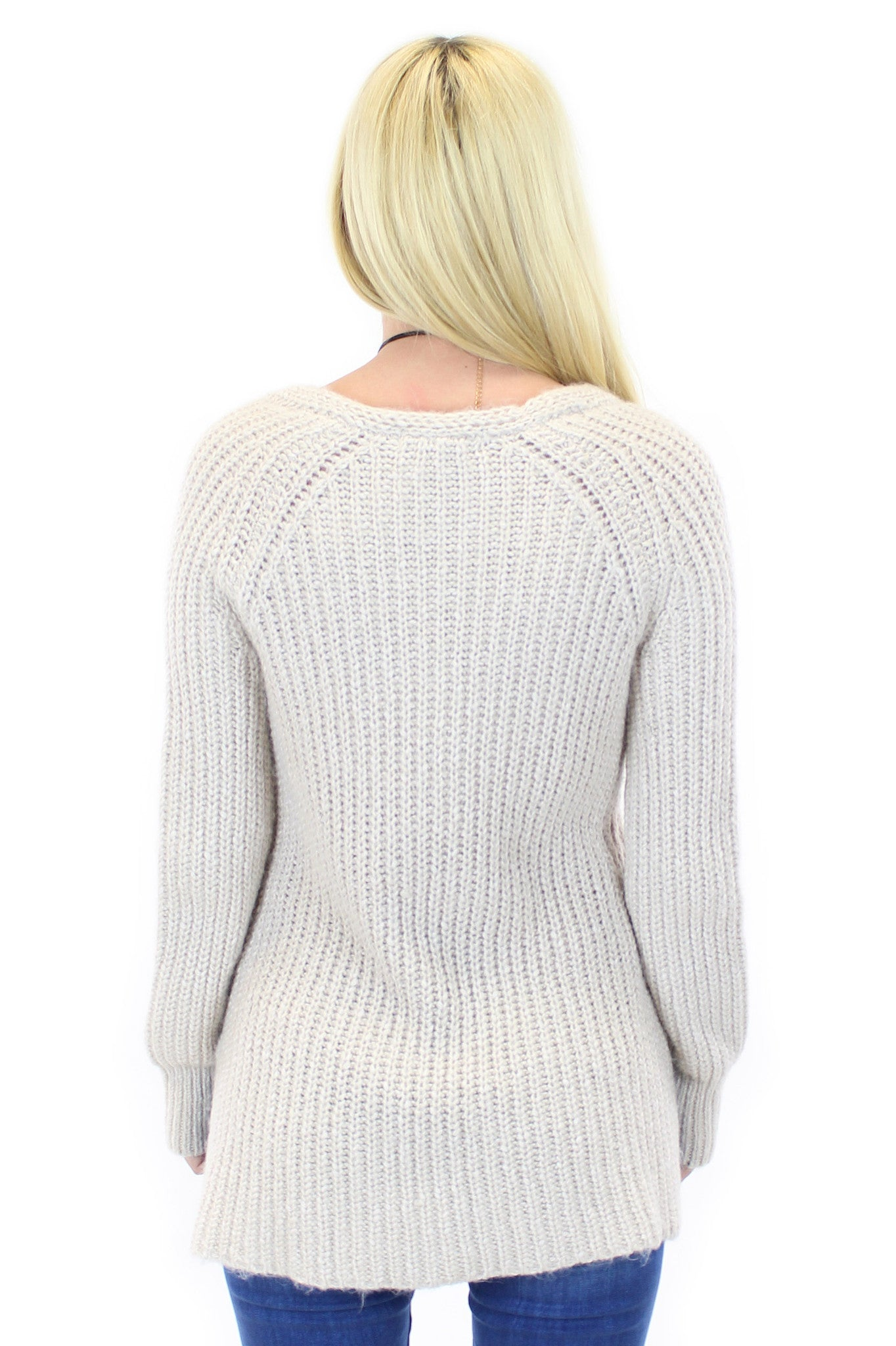 sanctuary | sequoia v neck sweater in marled champagne - klōthe - 3