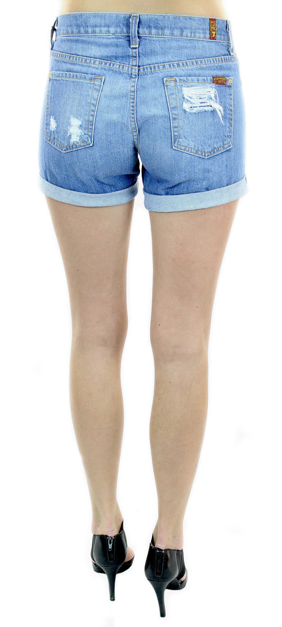 7 for all mankind | relaxed mid rise roll up short destroyed - klōthe - 2