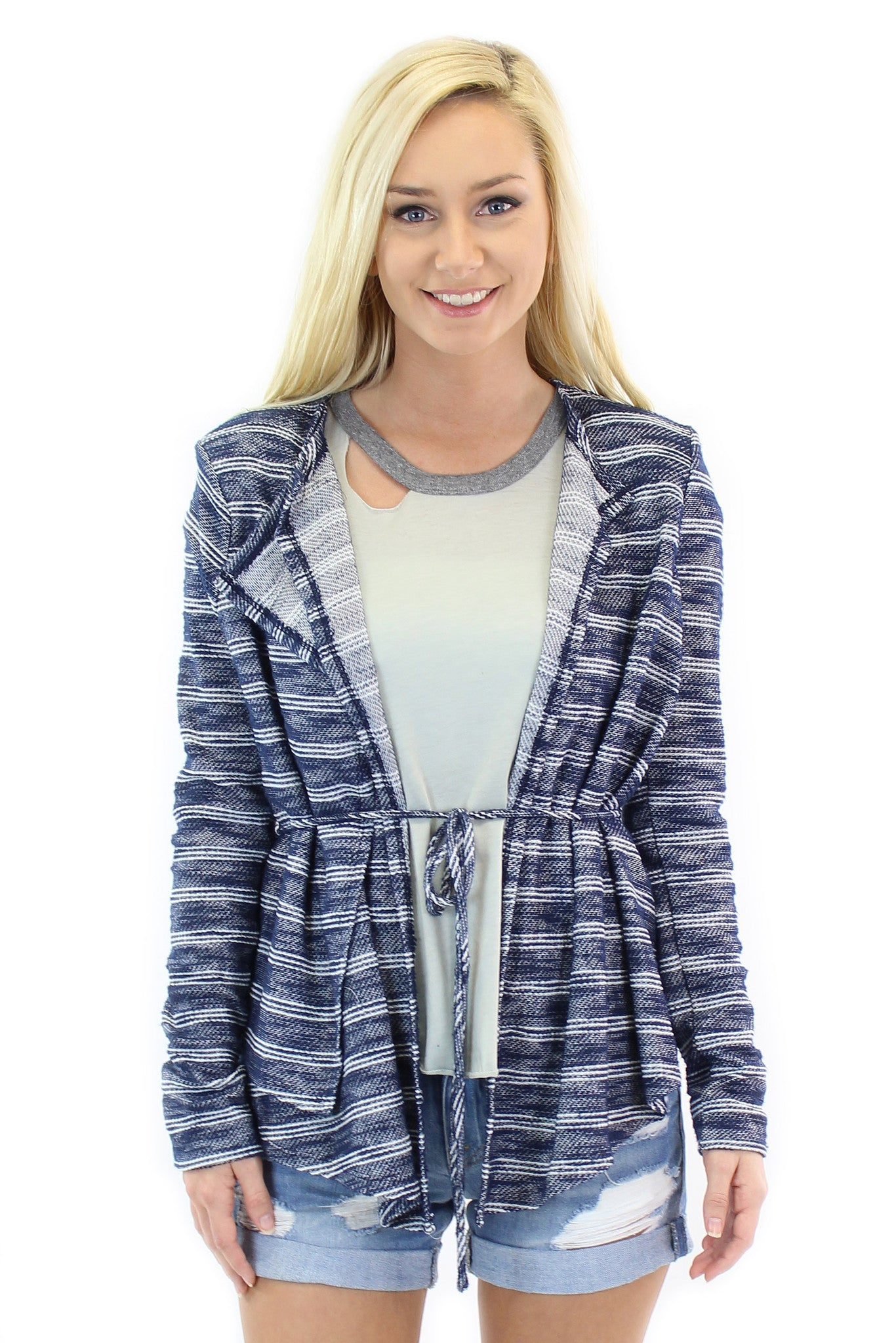 BCBGeneration | striped knit wrap jacket (dark navy combo) + chaser | blocked jersey tee (cool grey)