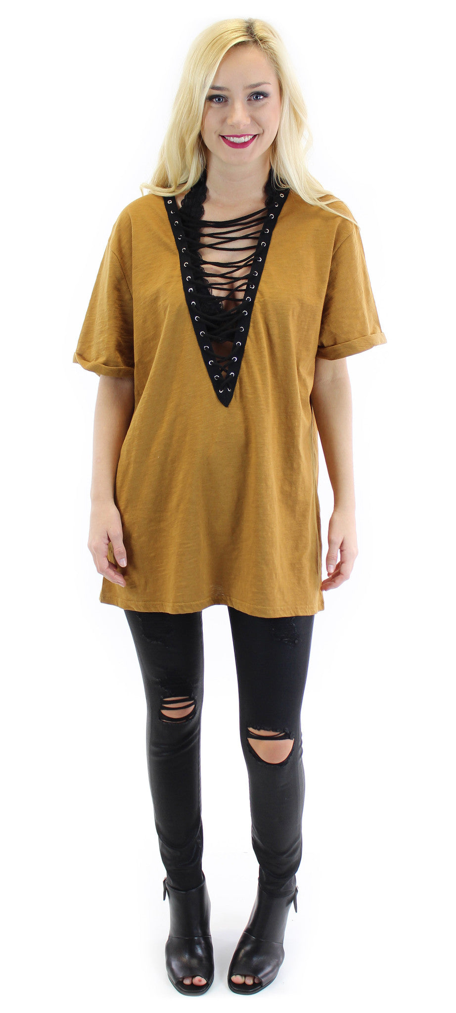 lace up short sleeve tunic (camel) - klōthe - 1