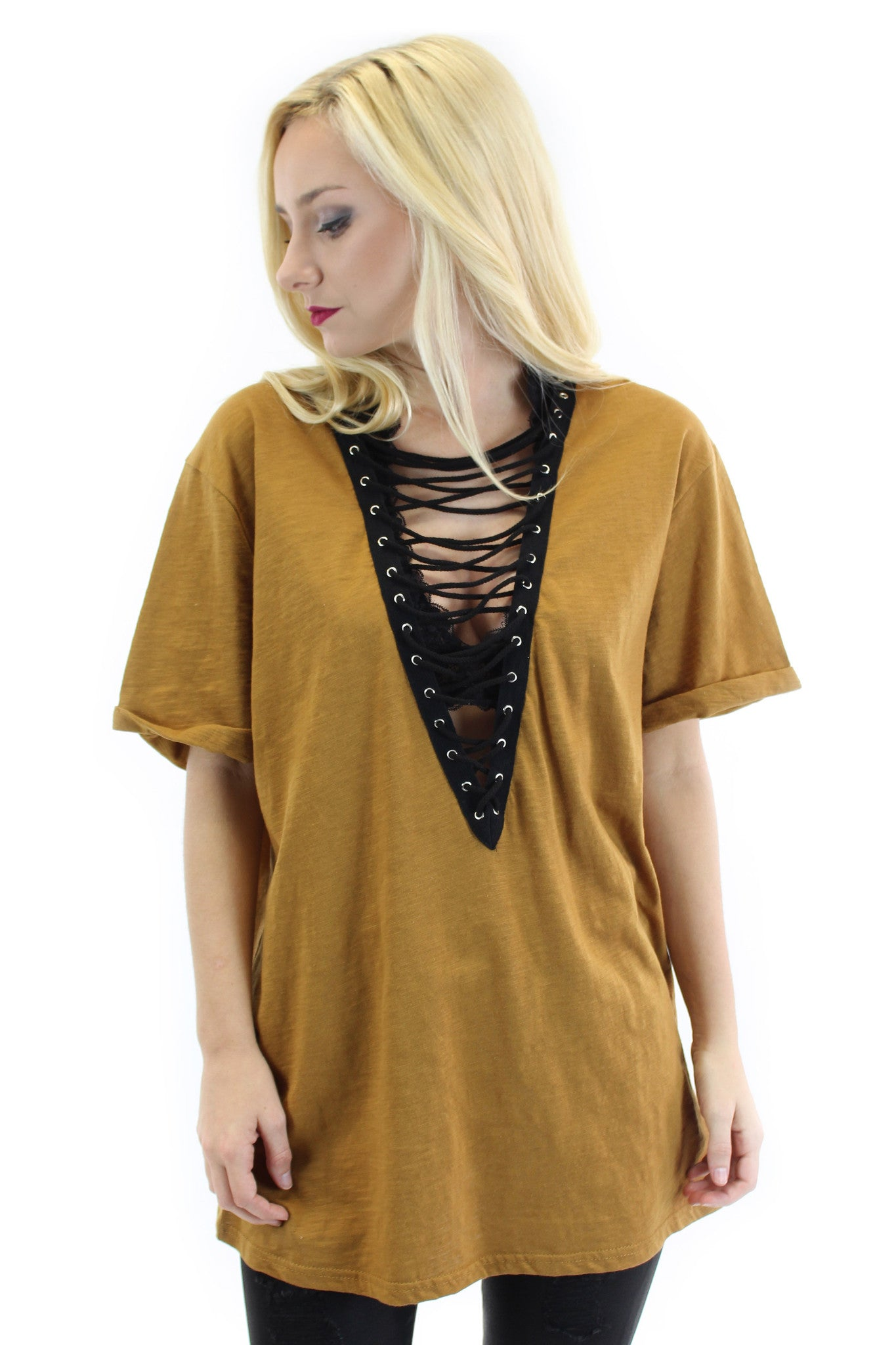 lace up short sleeve tunic (camel) - klōthe - 2