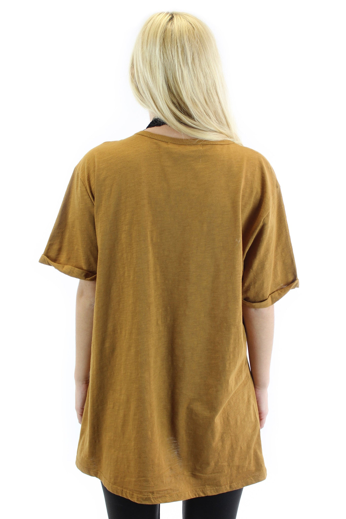 lace up short sleeve tunic (camel) - klōthe - 3