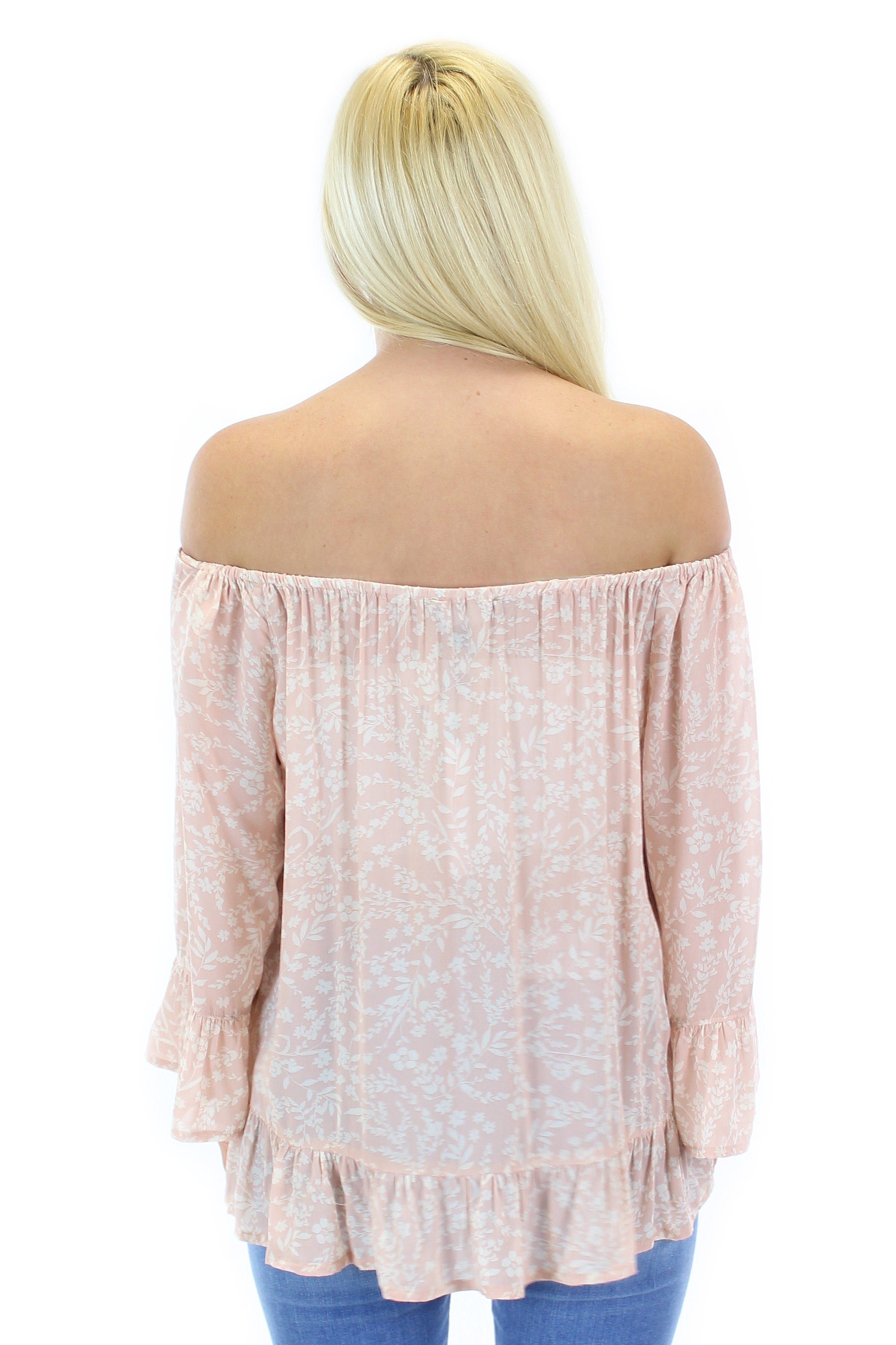 sanctuary | julia off the shoulder top (pink sprout)