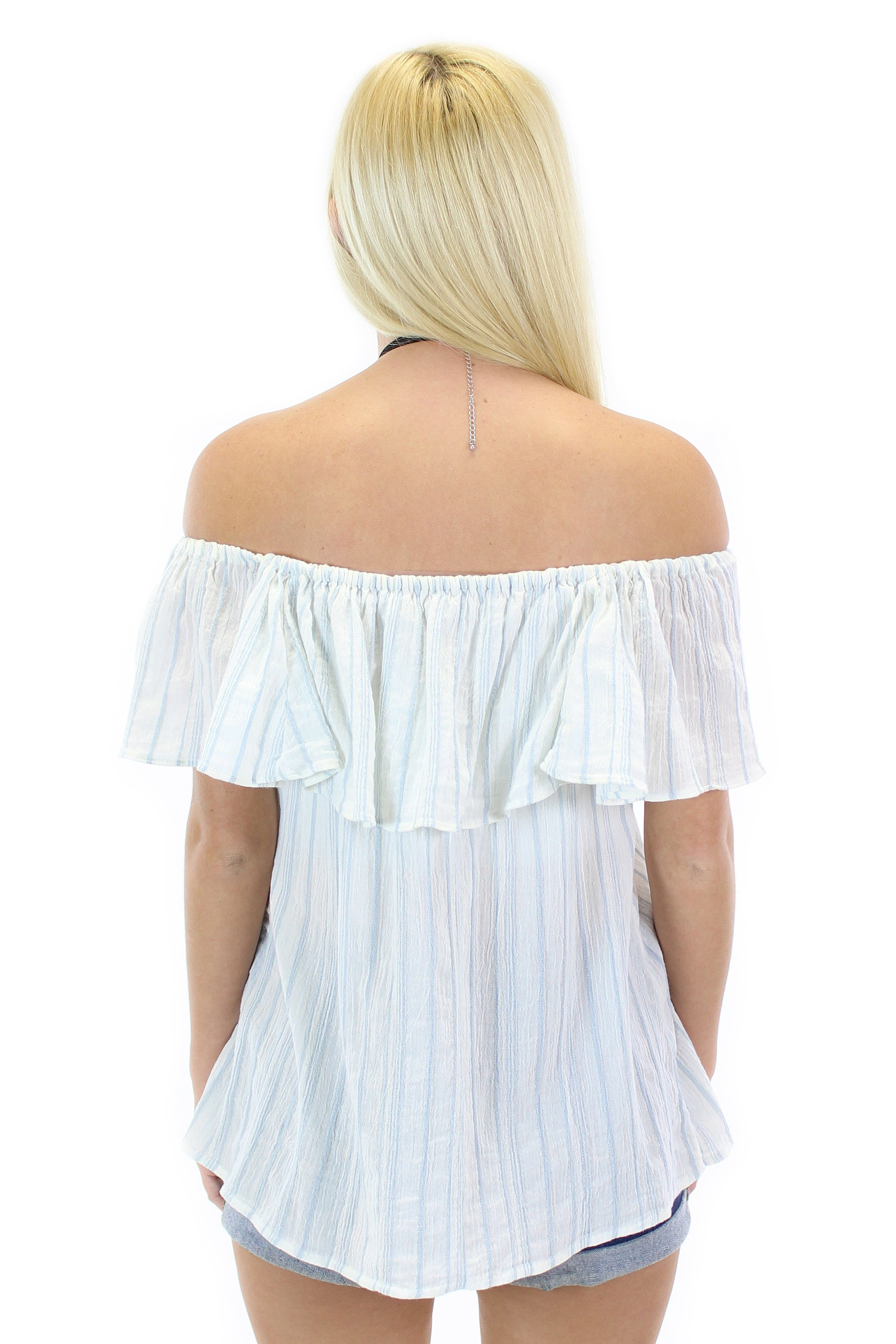 sanctuary | misha off the shoulder top (loom stripe)