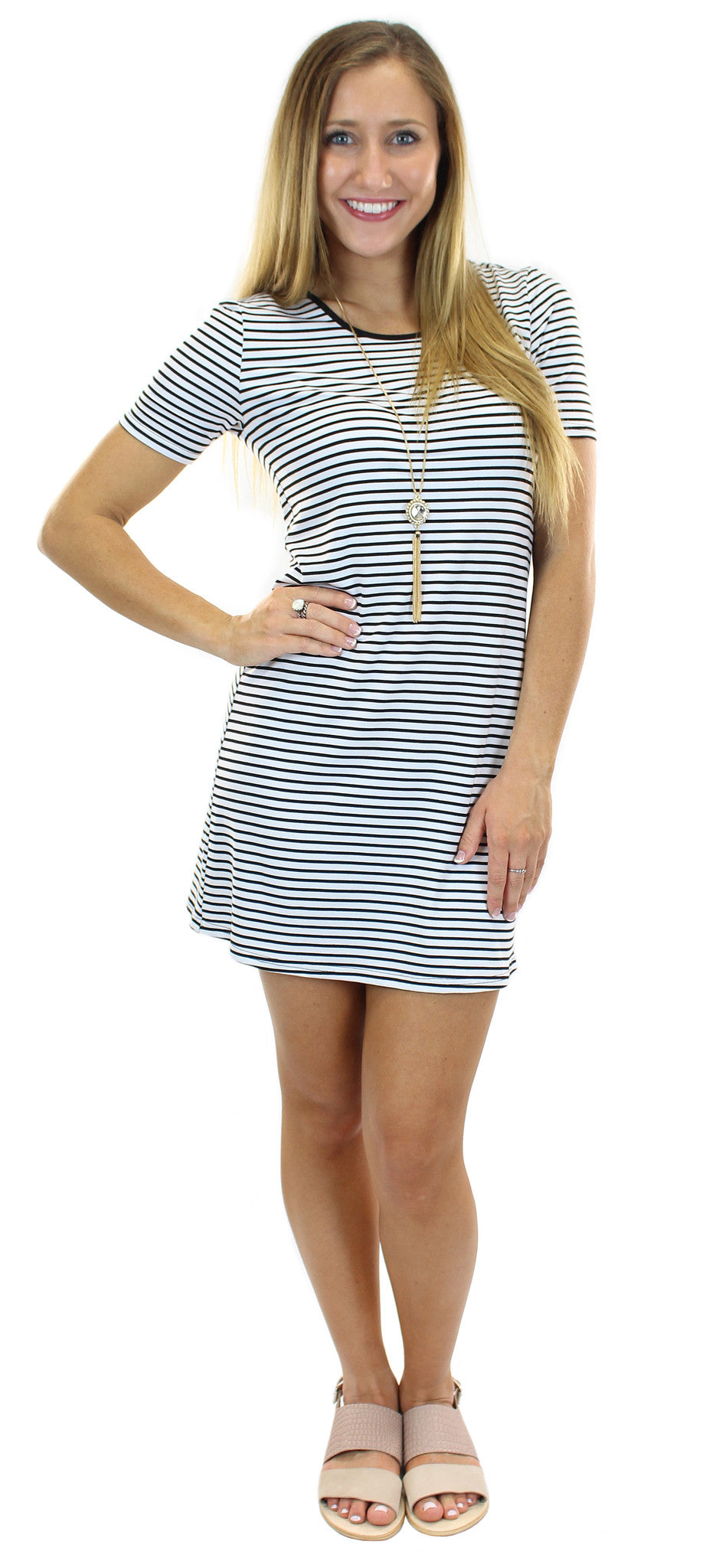stripe shift dress - klōthe - 1