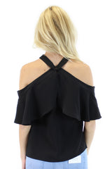 rayna cold shoulder top (black)
