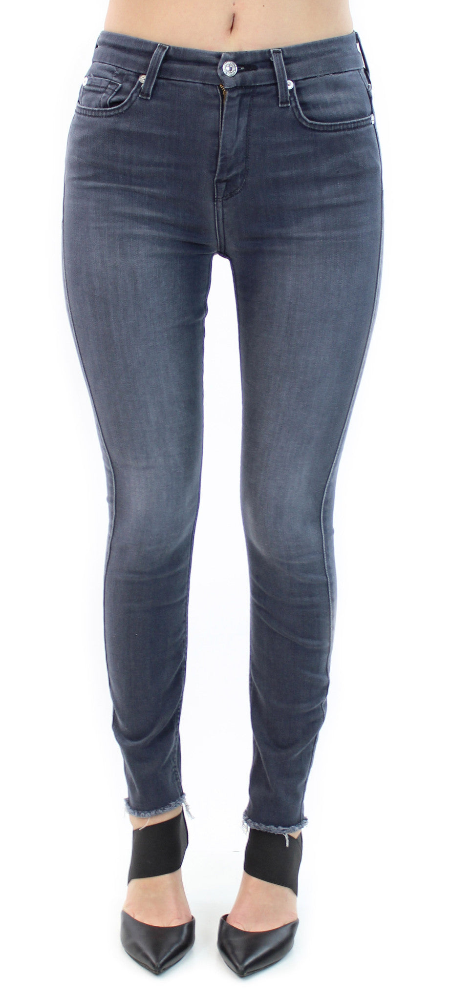 7 for all mankind | high waist ankle skinny cobble stone grey - klōthe - 1