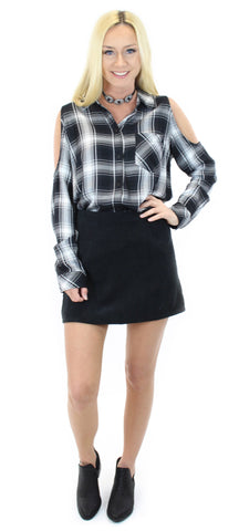 sanctuary | delaney bare shoulder + corduroy short skirt (black) - klōthe - 1
