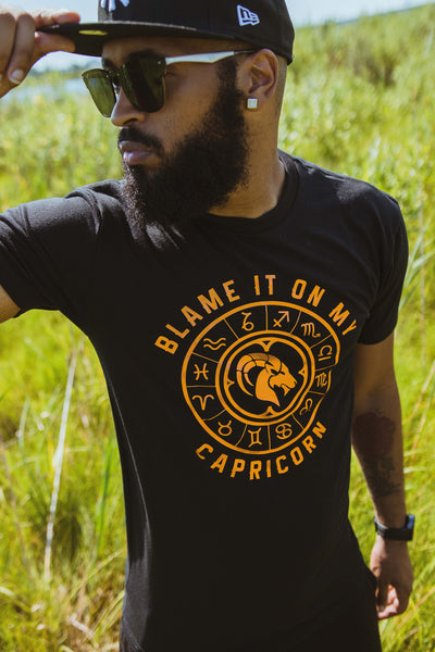 """Blame it on My Capricorn"" Men's Chrome Metallic T-Shirt - MyZodiac Clothing"
