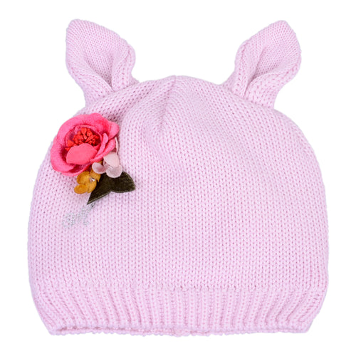 Pink Flower Knit Hat