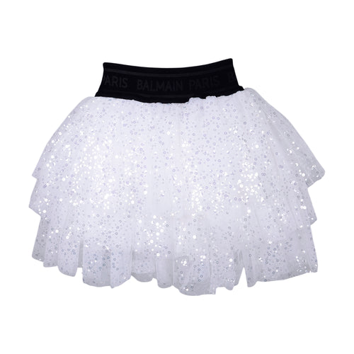 White Tulle Layered Sequin Skirt