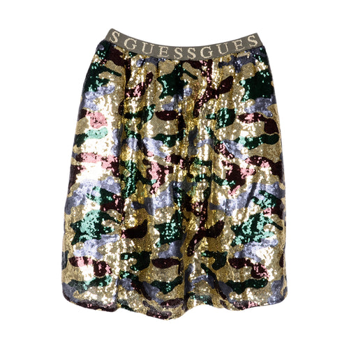 Gold Sequin Camo Skirt