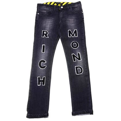 Grey Demin Applique Logo Jeans